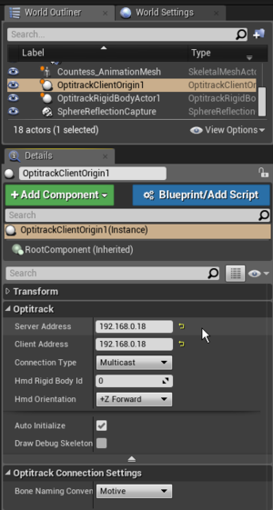 Optitrack unreal engine 4 plugin naturalpoint product optitrack client origin properties defined with corresponding server and client address malvernweather Gallery