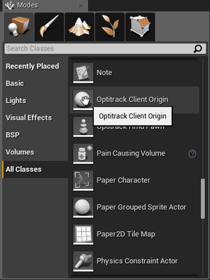 Optitrack unreal engine 4 plugin naturalpoint product once the plugin is properly added the client origin object can be found under modes panel in ue4 malvernweather Images